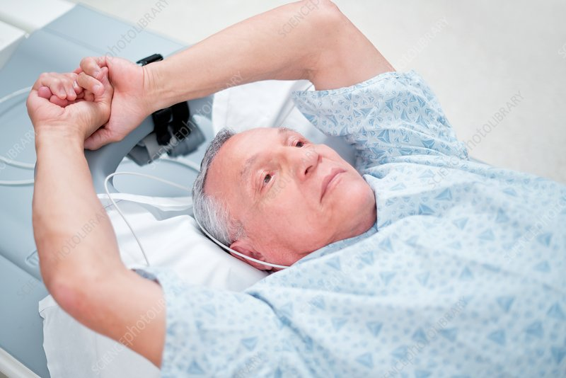 Male patient preparing for an MRI scan