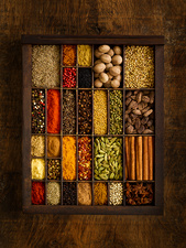 Selection of dried spices in tray