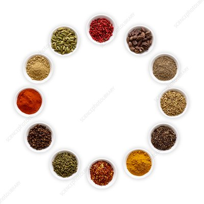 Dried spices in small bowls