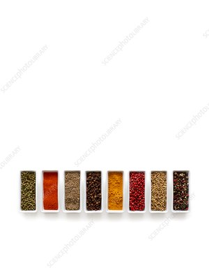 Dried spices in small dishes