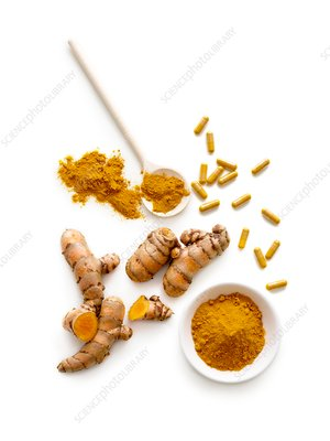 Turmeric root, powder and capsules