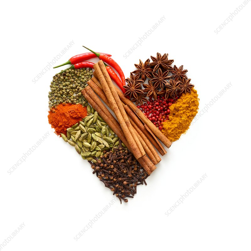 Dried spices in heart shape