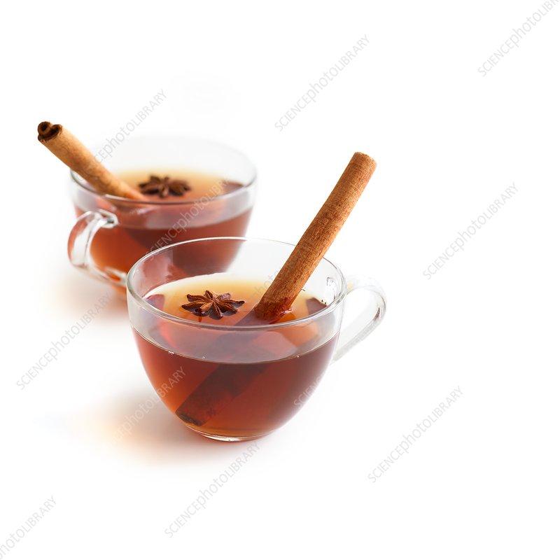 Cinnamon tea in glass