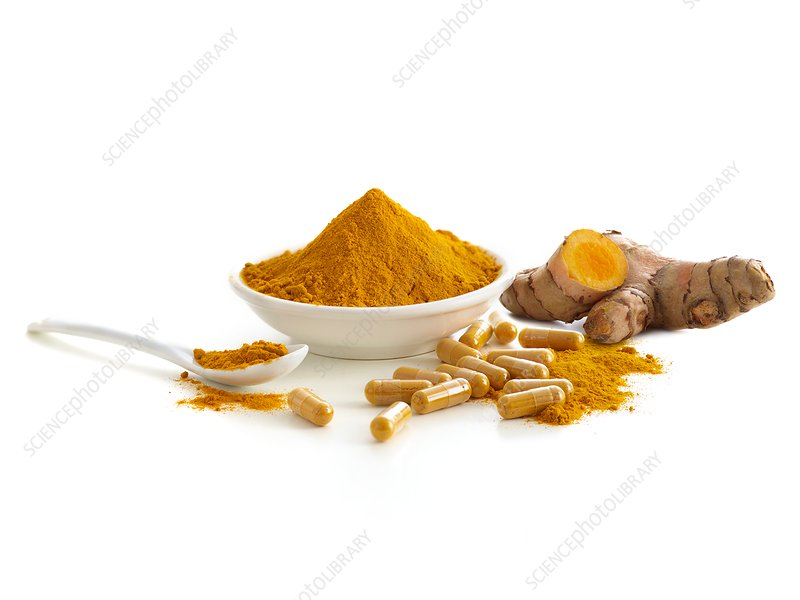Turmeric root, capsules and dried powder