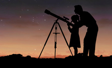 Man and Girl at Telescope