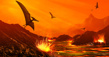 Artwork of Dinosaur Extinction Event