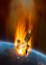 Coronal mass ejection engulfing satellite, illustration