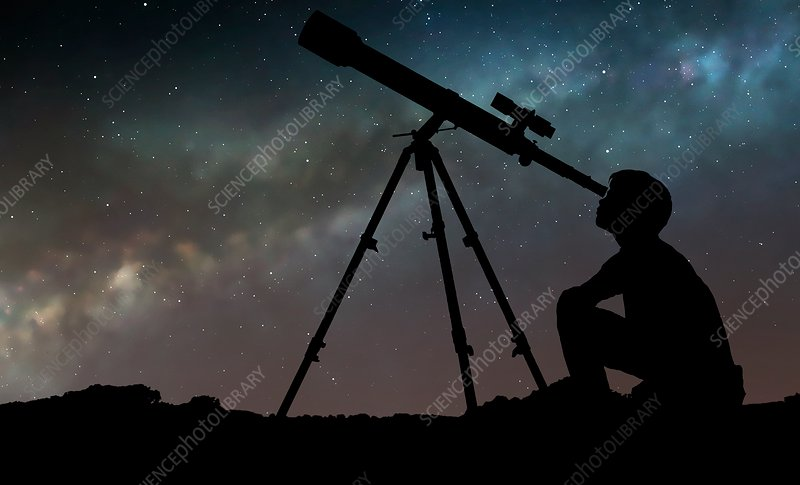 Boy looking through telescope, illustration