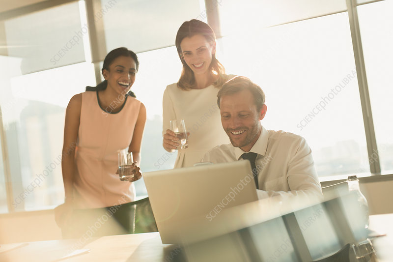 Business people working at laptop in sunny office