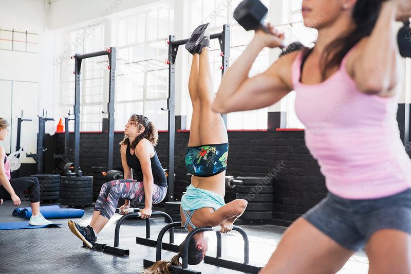 Young women working out