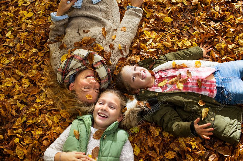 Family lying down on Autumn leaves