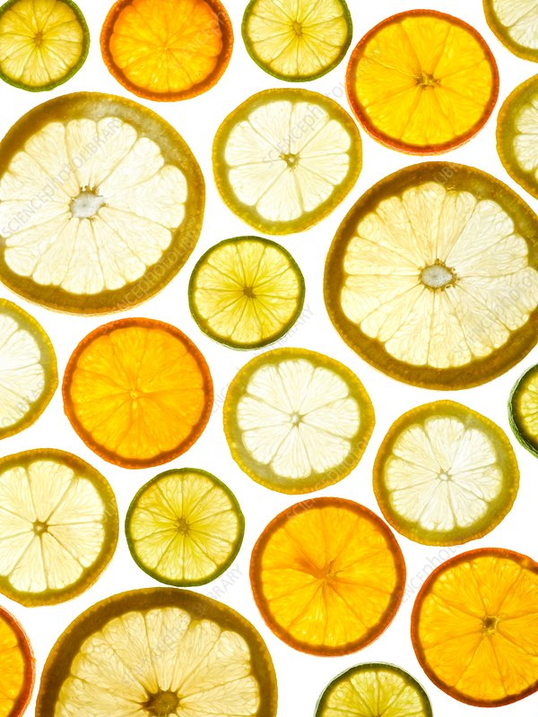 Citrus fruit halves