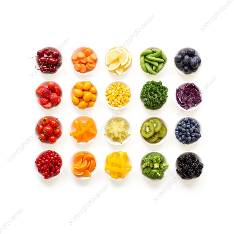 Fresh colourful fruit and vegetables