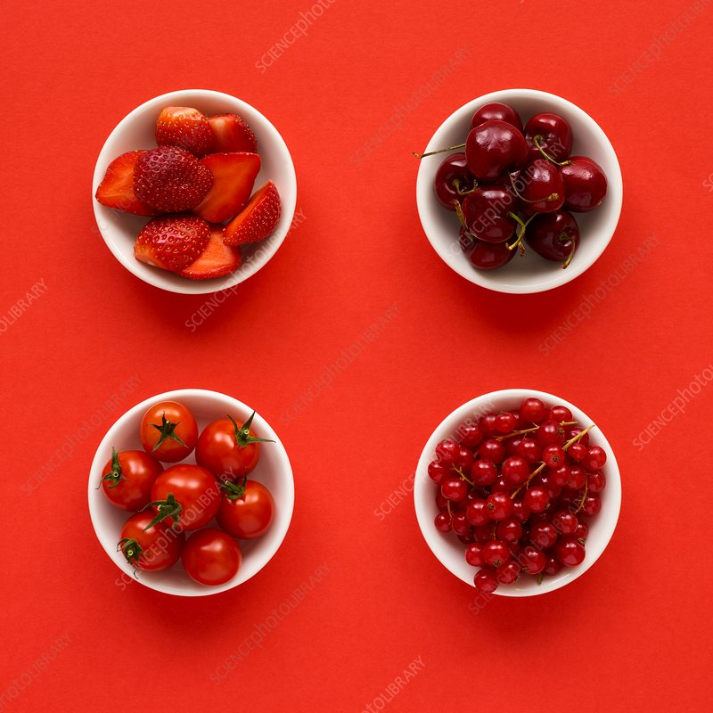 Red produce in dishes