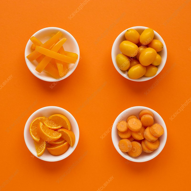 Orange produce in dishes