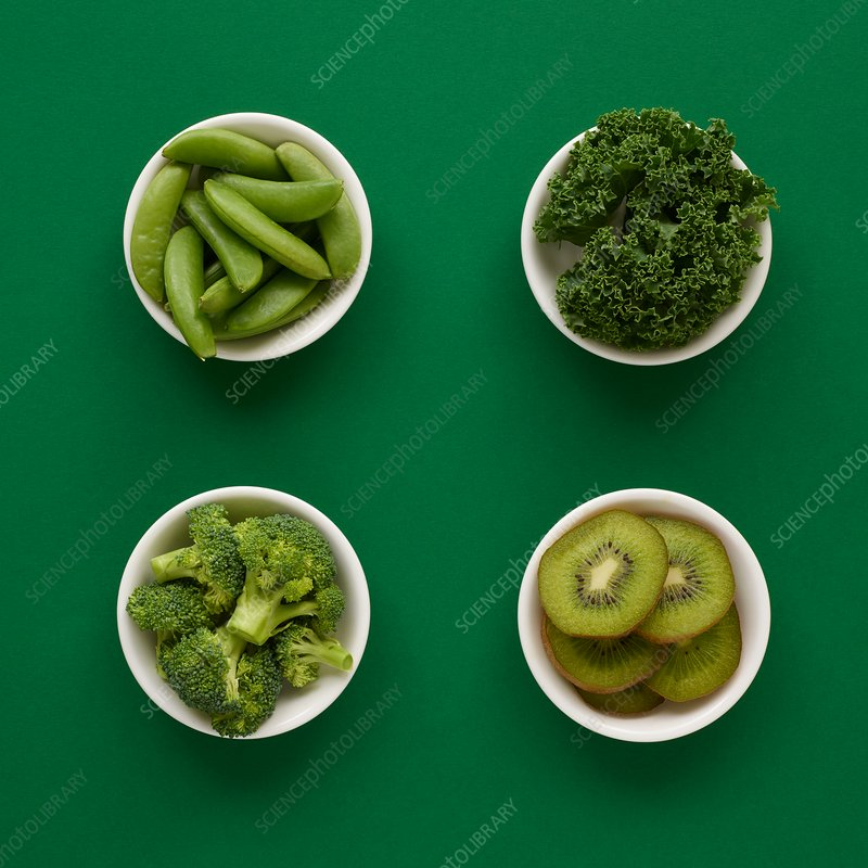 Green produce in dishes