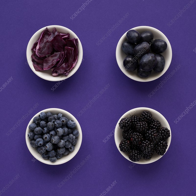 Purple produce in dishes