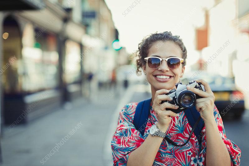 Portrait tourist in sunglasses