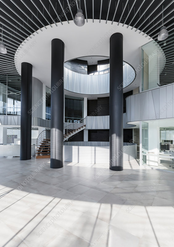 Architectural, modern office lobby
