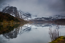 Reflection of mountains in water, Norway