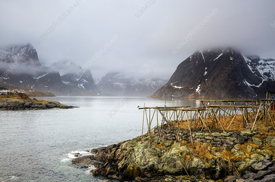 Foggy, cold rugged mountains and river, Norway
