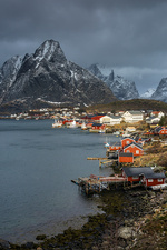 Fishing village at waterfront, Norway