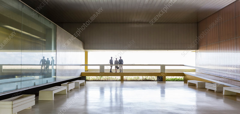 Business people on elevated walkway lobby