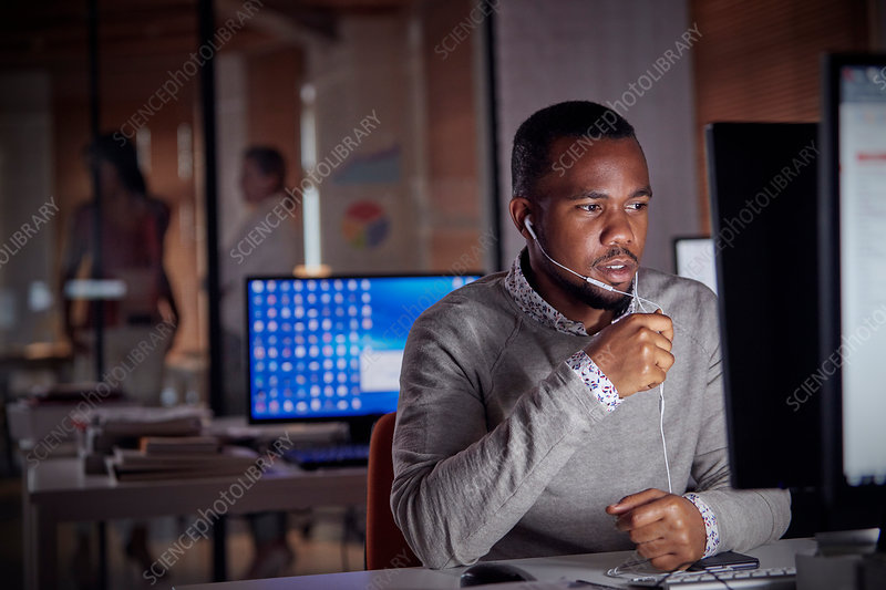 Businessman working late at computer