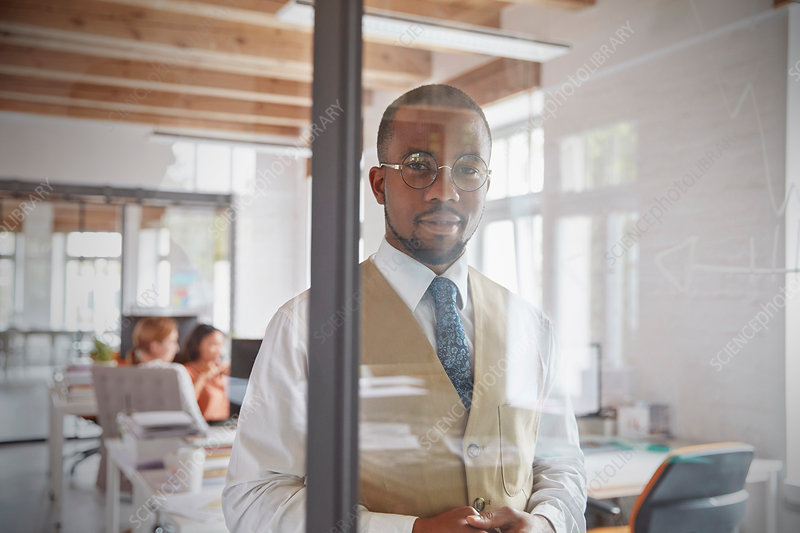 Portrait confident businessman at window in office