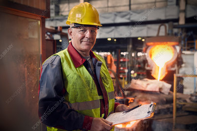 Portrait confident steelworker supervisor