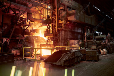Molten furnace in dark steel mill