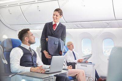 Flight attendant talking with businessman working