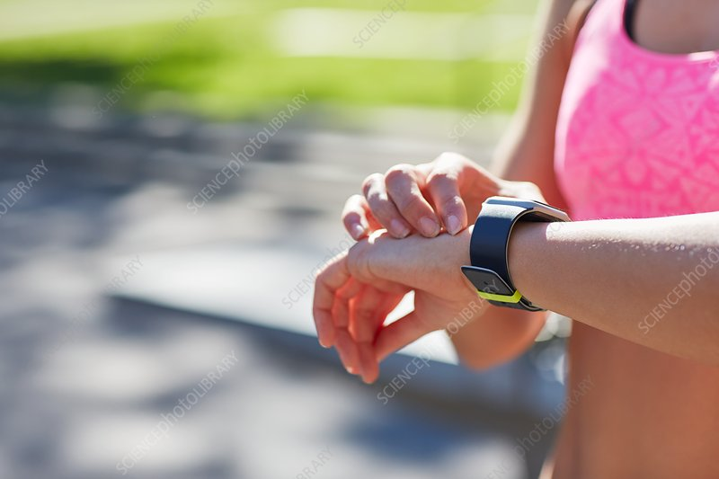 Woman wearing sports watch