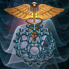 Medical symbol and buckyball, illustration