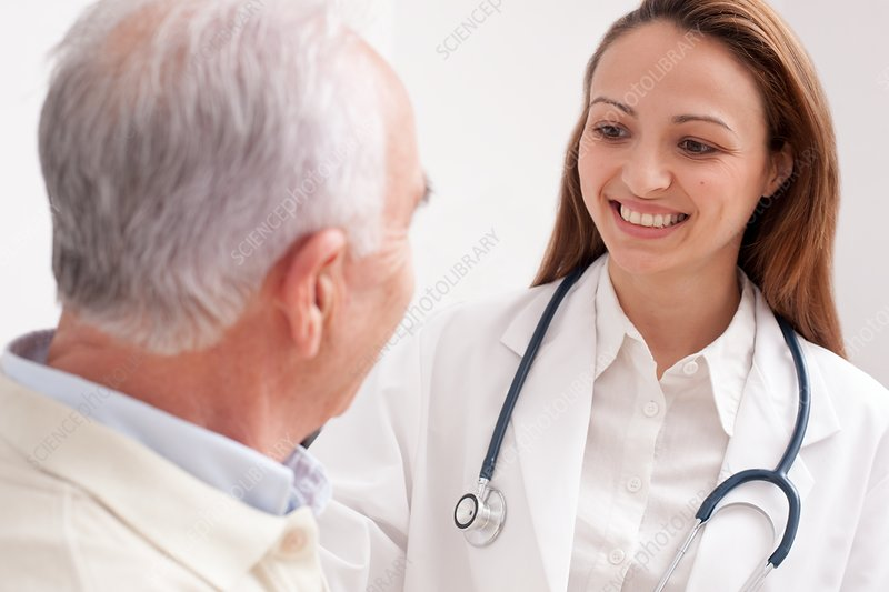 Doctor with senior male patient