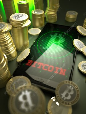 Bitcoins and phone, illustration