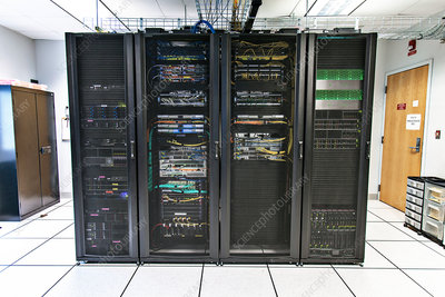 Racks of network equipment