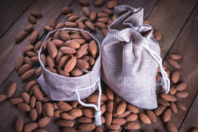 Almonds in hessian sack