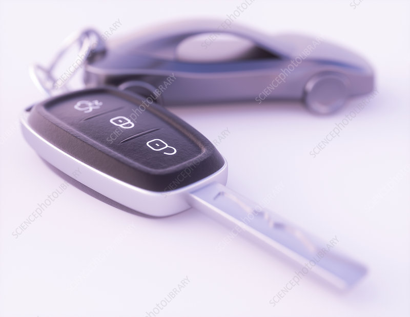 Car key and key fob, illustration