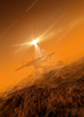 Spacecraft landing on planet, illustration