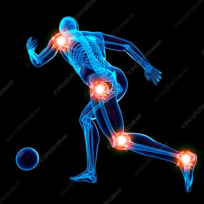 Person playing football, joints, illustration