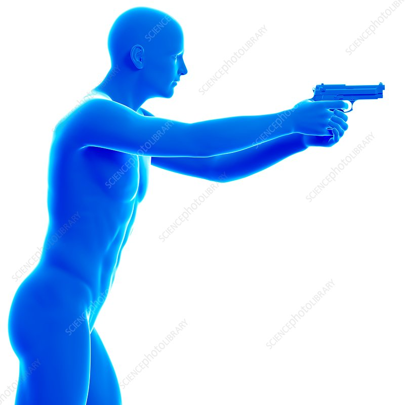 Person holding gun, illustration