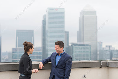 Business people meeting on terrace, London, UK
