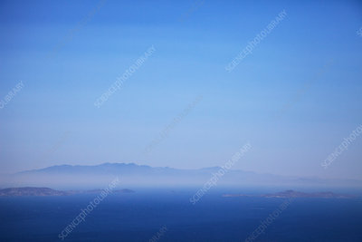 Seascape and distant misty view, Greece