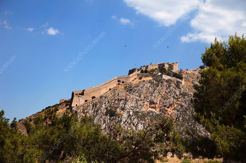 Palamidi Fortress on top of rock formation, Nafplio, Greece