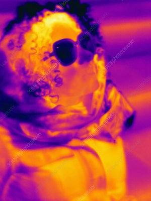 Thermal image of woman wearing sunglasses