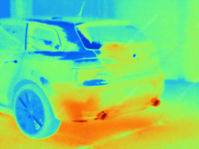 Thermal image of exhaust system on rear end of car