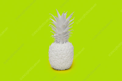 Pineapple painted white on lime green background