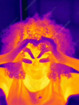Thermal image of mid adult woman making eye spectacles