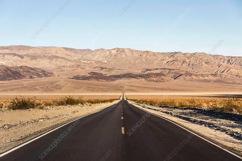 Landscape with straight road in Death Valley, USA